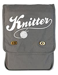 Tenacitee Knitter Smoke Grey Canvas Field Bag