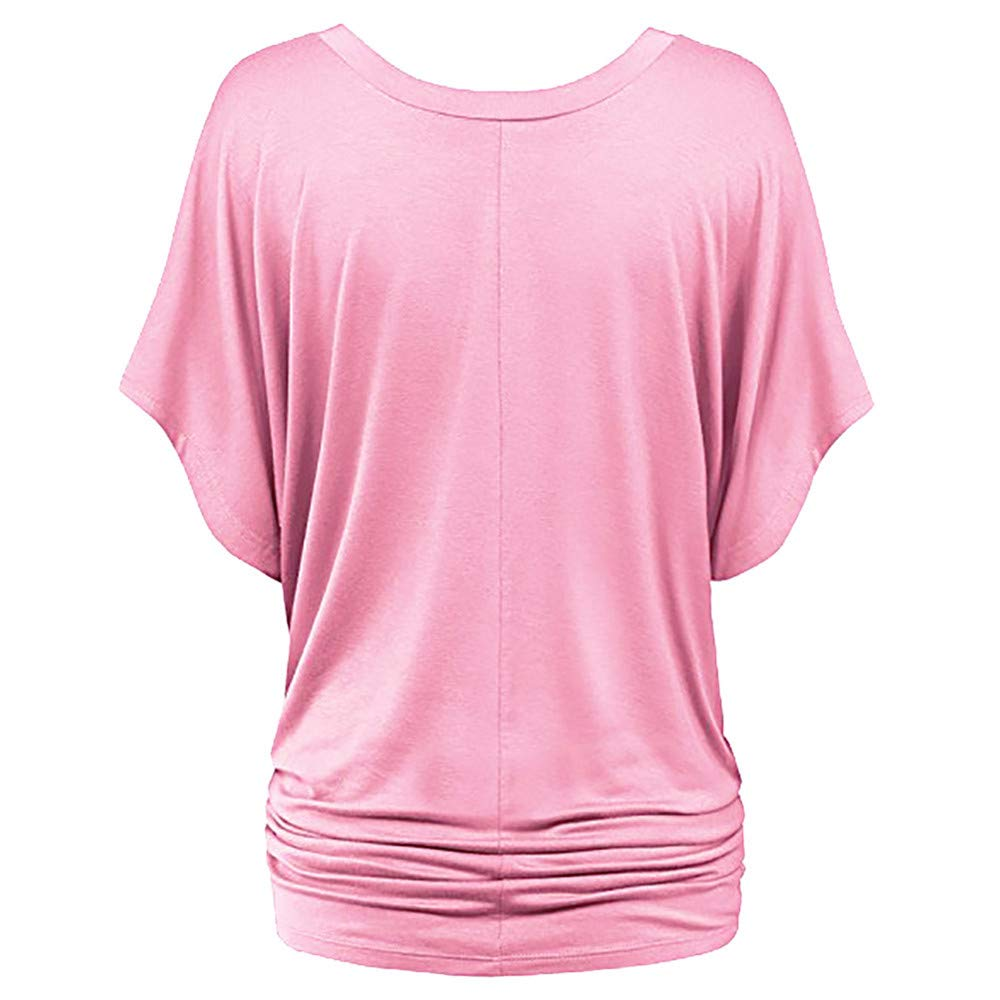 Newnessshop Women Summer Loose T-Shirt Ruched V-Neck Batwing Short Sleeves Plus Size T Shirt