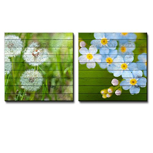 Photograph of Dandelions on a Field Along with a Branch with Blue Flowers Over Wooden Panels