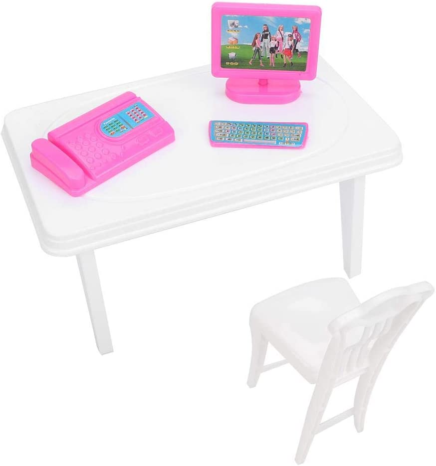 Hztyyier Doll House Accessories Mini Computer Keyboard Fax Machine Desk Chair Mini Furniture Kids Girl Toy Gift Set