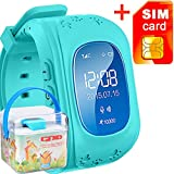 GBD GPS Tracker Smart Watch for Kids with Sim Card Wrist Smartwatch Phone Anti-lost SOS Gprs Children Bracelet for iOS Android Smartphone(Blue)