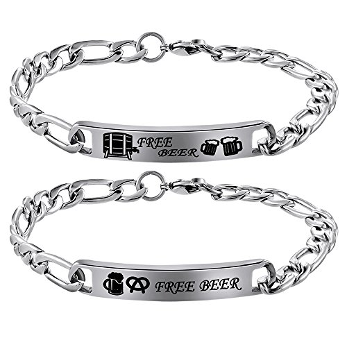 76e38b86e6 ... Beauty Her Beast Stainless Steel His and Hers Couple Bracelet Set.  Sale! 🔍. On Sale
