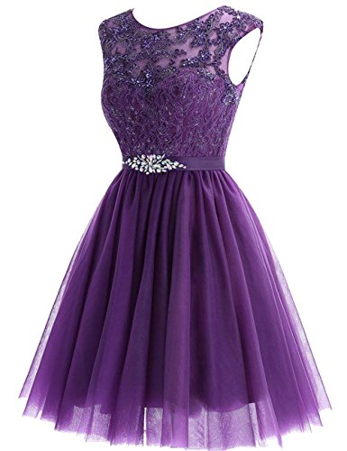 Tulle Dress JAEDEN Grape Crystal Short Dress Sash Dresses Lace Cocktail Homecoming with Homecoming f1Pqn1wxCU