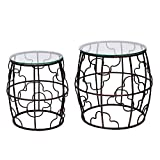 DecentHome Home Luxury Nesting Accent Iron End Table (Metal, set of 2)