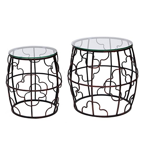 DecentHome Home Luxury Nesting Accent Iron End Table (Metal, set of 2) by DecentHome