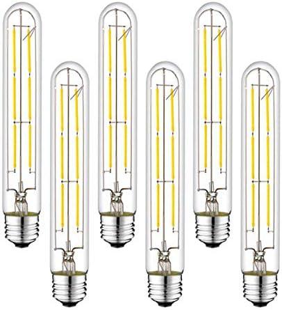 Pack of 6 T10 T30 Edison Light Bulbs,Sanglow 6W 60 Watt Dimmable Tubular LED Filament Light Bulb,E26 600 Lumen 2700K Warm White