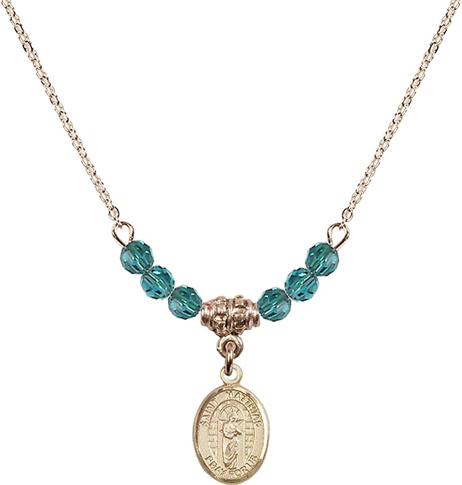 18-Inch Hamilton Gold Plated Necklace with 4mm Zircon Birthstone Beads and Gold Filled Saint Matthias the Apostle Charm.