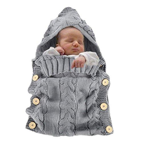 (Newborn Baby Wrap Swaddle Blanket, Baby Kids Toddler Wool handmade Knit Blanket Swaddle Sleeping Bag Sleep Sack Stroller Wrap for 0-12 Month Baby)