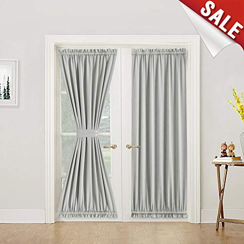 French Door Curtains 72 Inches Blackout French Door Curtain Panels Room Darkening French Door Panels for Glass Door, 1 Panel, Tie Back Included, Grey (Tie Panel Back Door)