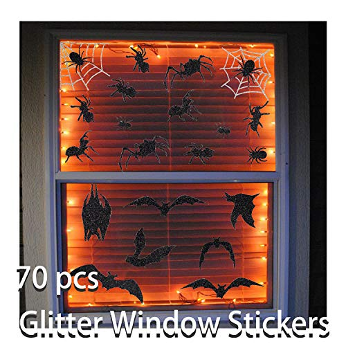 70 PCS Halloween Glitter Window Wall Floor Clings Decal Sticker - Happy Halloween Spider Web Bat Window Stickers Supplies for Vampire Zombie Party Haunted House Bathroom Window Decoration, Reusable Assorted Designs -