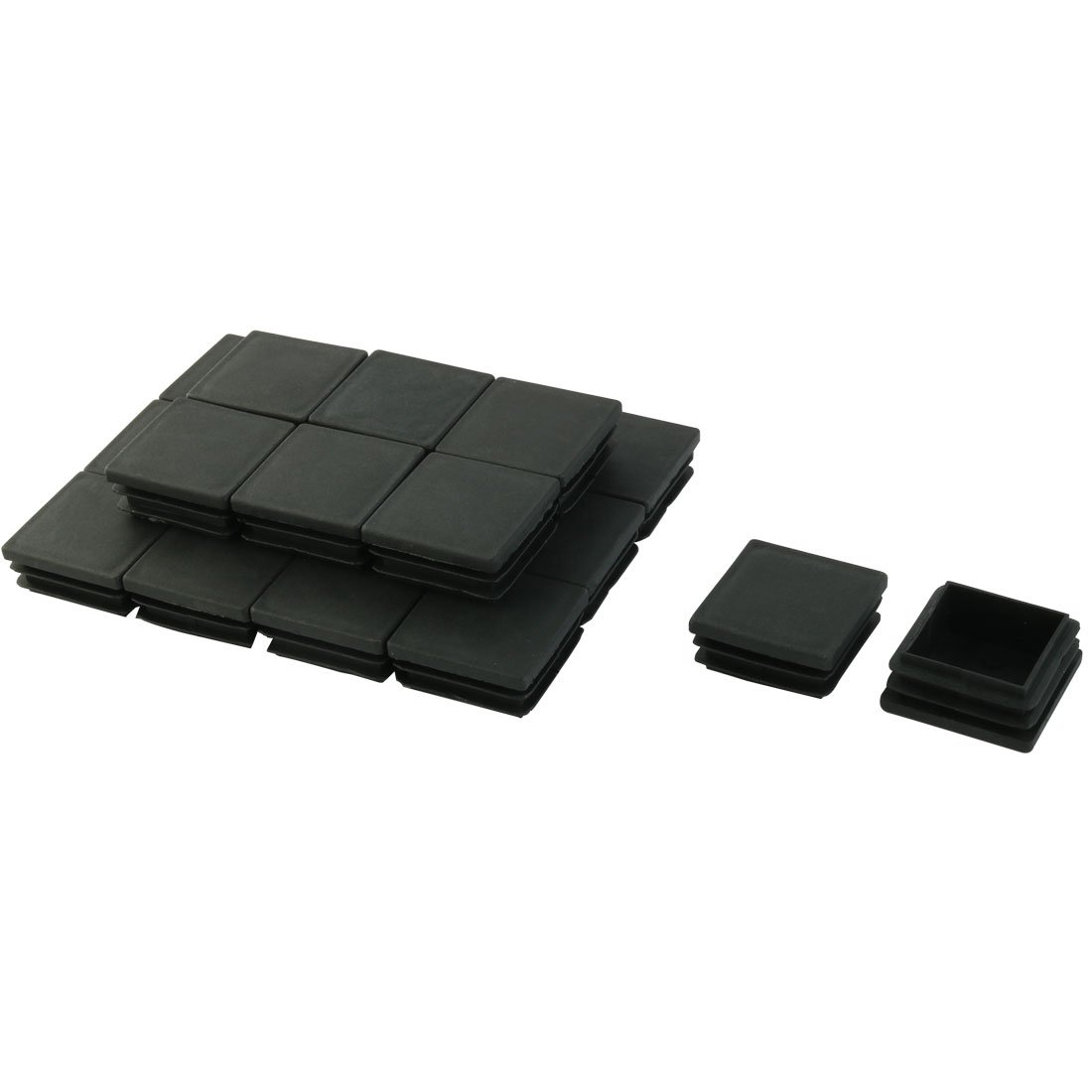 20pcs Black Plastic Square Blanking End Caps Tube Inserts 38mm x 38mm uxcell a14082800ux0060