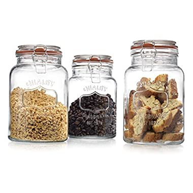 Glass Canister Quality Set of 3 Clear Round Jar with Hermetic Seal Bail & Trigger Airtight Lock for Kitchen - Food Storage Containers