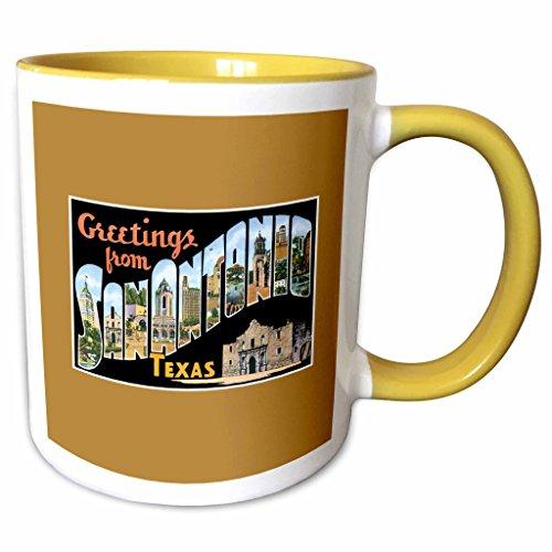 3dRose BLN Vintage US Cities and States Postcards - Greetings From San Antonio, Texas Scenic Postcard Reproduction - 11oz Two-Tone Yellow Mug - San Texas Antonio Outlets