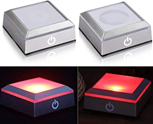 2 Pack LED Light Base Show Stand Display Plate with Sensitive Touch Switch for 3D Laser Crystal Glass Art