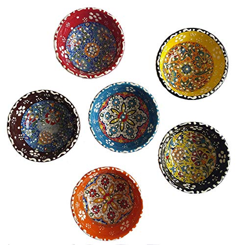 (Decorative Desing Turkish Ceramic Bowl Set of 6 - Handcrafted Multicolor Small Bowl)