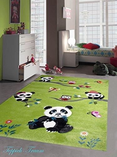 Kinderteppich Spielteppich Kinderzimmer Teppich niedliche Bunte Tiere mit Konturenschnitt Panda Design mit Eulen Schmetterlinge und Vögeln Grün Cream Pink Grau Bunt Größe 200 x 290 cm