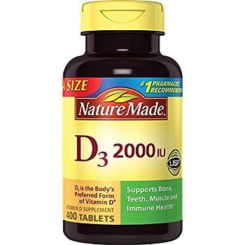 Nature Made Vitamin D3 2000 I.U. 400 Tablets Value Size