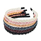 Mtlee 6 Pieces Beaded Hair Hoop Headband Bead Hair Band Women Girls Hair Accessories
