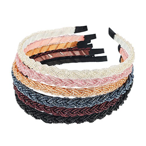 Mtlee 6 Pieces Beaded Hair Hoop Headband Bead Hair Band Women Girls Hair Accessories -