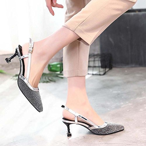 Women's And New MHX Summer Sandals Silver Shoes Pointed Korean Flash Black heeled High Film Fine Shoes Spring With dqnPXXt