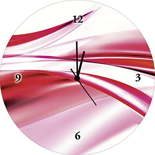 Artland Qualitätsuhren I Funk Wanduhr Designer Uhr Glas Funkuhr Größe: 35 Ø Gegenstandslos Pink Rosa G1QD