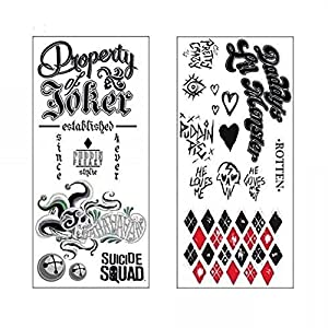DC Comics Suicide Squad Harley Quinn Joker Temporary Tattoos at Gotham City Store