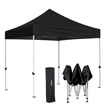 brand new 13322 84e11 CRINEX Black 10x10 Canopy Tent, Black Ez Pop Up Canopy Tent Commercial  Instant Shelter with Carry Bag, Ideal for Outdoor Party BBQ and Sports ...