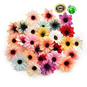 Silk flowers in bulk wholesale Fake Flowers Heads Sunflower Head Artificial Silk Flowers for DIY Scrapbooking Wreath Home Wedding Decoration Fake Flower 80Pcs 6cm (Multicolor) 79
