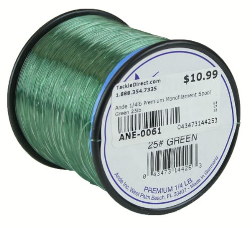 ANDE A14-25G Premium Monofilament, 1/4-Pound Spool, 25-Pound Test, Green Finish