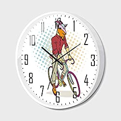Silent Wall Clock Non Ticking Metal Frame HD Glass Cover,Retro,Hipster Goat on Bicycle Fashion Model Horns Hooves Teenager Boy Colorful Artwork Decorative,for Living Room, Bedroom,Office,14inch