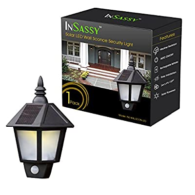 Solar Wall Sconce Lights Outdoor Security with Motion Sensor by InSassy - Outside Weatherproof Home Porch Patio LED Wall Lantern Lamp - Warm White