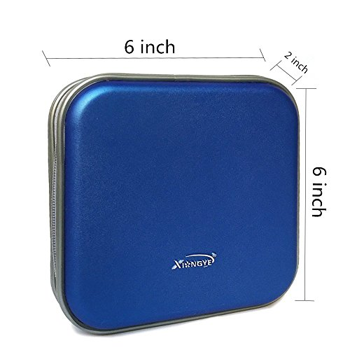 TraderPlus Portable 40 CD Disc Storage Case Bag VCD/DVD Wallet Holder Album Box for Car, Home, Office and Travel Blue