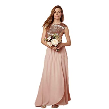67de06e8e3b4 Automan Sparkly Blush Long Sequined Bridesmaid Dresses Wedding Guest Dress  Chiffon Formal Gowns Dress at Amazon Women's Clothing store: