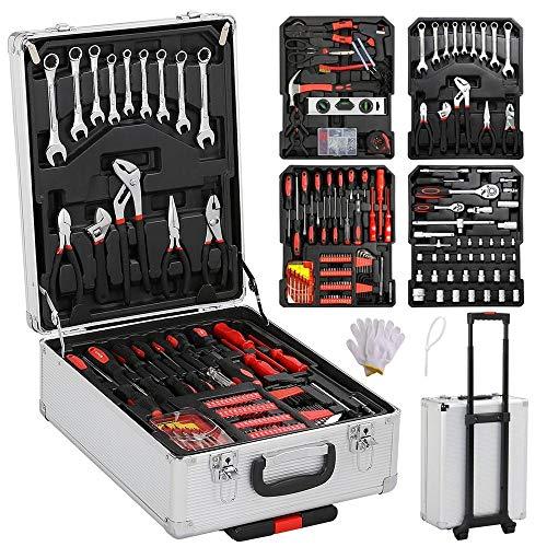 Yaheetech Sturdy 1099pcs Tool Box with Tools and Wheels Aluminium tool Chest Box Household Tool Kit Set Case Mechanics Kit Box Organizer