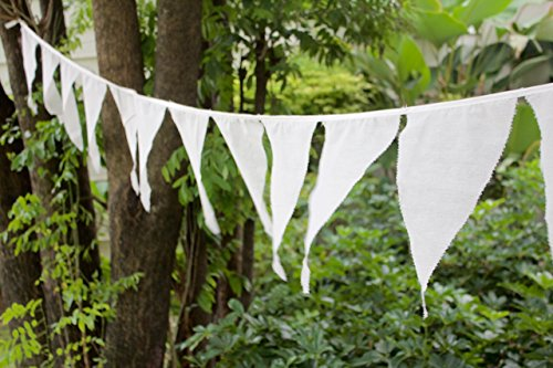 Yard - Wedding Party Bunting in Off-White Muslin Cotton Long Pennant Banner Garland - pick your length (Yards Flag Banner)