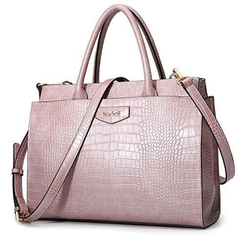 Crocodile Embossed Leather Handbag (Kadell Women's Leather Designer Handbags Crocodile Embossed Shoulder Bag Satchel for Ladies Pink)
