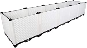 BAOYOUNI Raised Garden Bed Kit DIY Plastic Planter Box for Growing Fresh Vegetables, Herbs, Flowers & Succulents in Balcony, Rooftop, Patio or Yard, White, 76.77'' x 15.35'' x 14.96''
