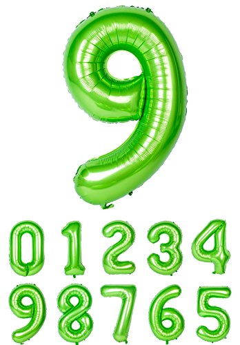 Helium Balloon Green Ballon Numbers Mylar Birthday Party Decorations Number 9]()