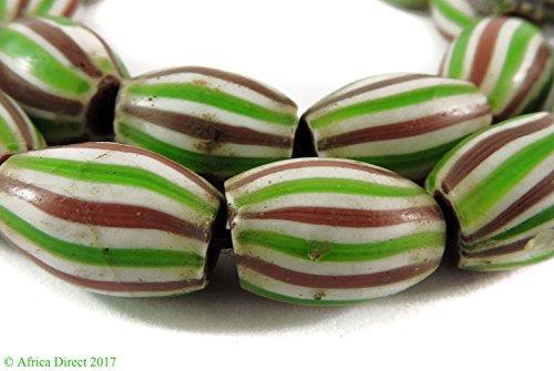24 Chevron Venetian Trade Beads Striped Melon African Loose