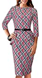 HOMEYEE Women's Vintage Tartan Wear to Work Bodycon Dress B267 (S, Pink)