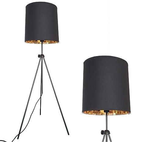 Decoluce Floor Standing Lamp Tripod Modern Minimalist Designer Studio Adjustable Black Gold Linen Drum Shade for Living Room (Black)