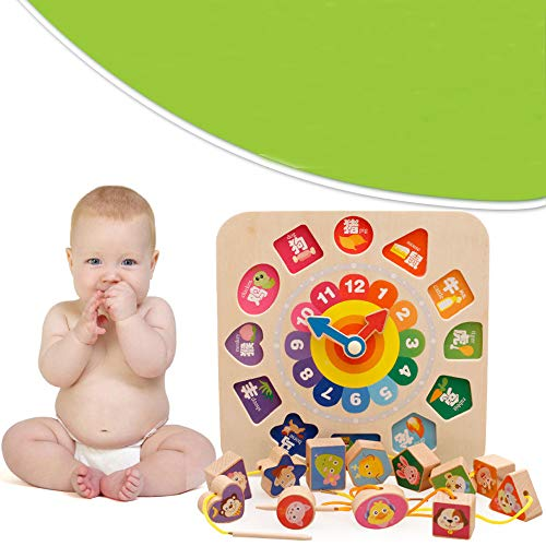 COLOR GOO Wooden Clock Puzzle Beading 12 Numbers Match Child Early Educational Toy Gifts