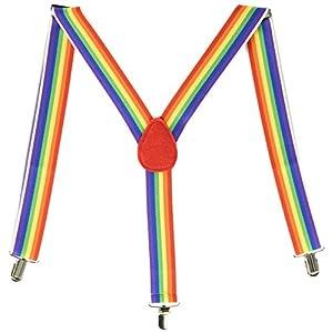 "Amscan Party Perfect Team Spirit Rainbow Adult Suspenders (1 Piece), Multi Color, 15.6 x 5.2"""