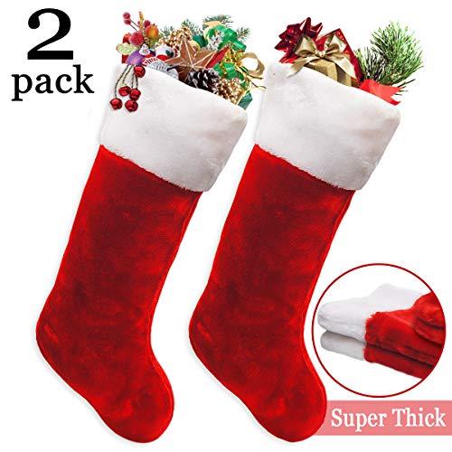 Ivenf 2 Pack 19quot Classic Red amp White Extra Thick Plush Mercerized Velvet Christmas Stockings Gift/Treat Bags