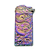 USB Rechargeable Windproof Electric Plasma Arc Cigarette Lighter Oiikury Engraved Lighters Chinese Dragon(Purple)
