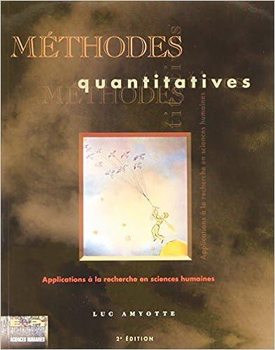 Livre Méthodes quantitatives : Application à la recherche en sciences humaines pdf, epub