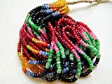 GemAbyss Beads Gemstone 5 Strands Multi Gemstone Necklace, Sapphire Beads, Emerald Beads, Ruby Beads 3mm to 3.5mm Beads, 15 Inch Strand Code-MVG-31502