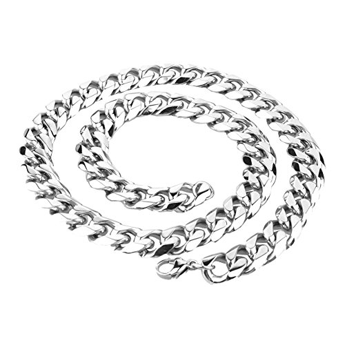 20mm Curb Chain Necklace - Mens Stainless Steel Silver Tone 7-40 inch 15MM Biker Heavy Cuban Curb Chain Necklace Bracelet