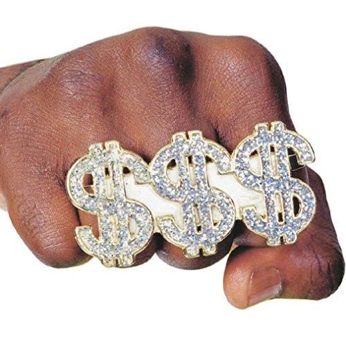 [8eighteen 3 Finger $$$ Pimp Ring Triple Money Dollar Sign Ring] (Arab Money Costume)