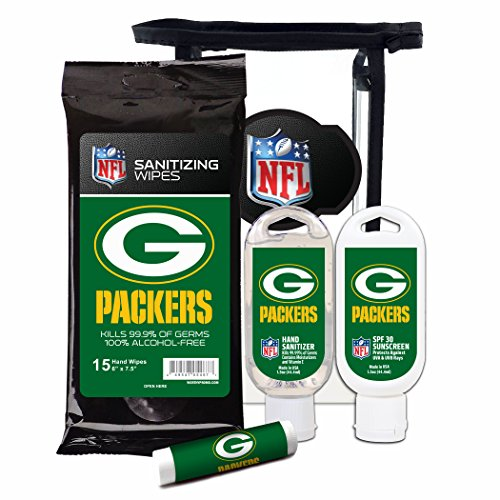 Worthy Promotional NFL Green Bay Packers 4-Piece Premium Gift Set with SPF 15 Lip Balm, Sanitizer, Wipes, Sunscreen (Jersey Bay Comforter Green Packers)